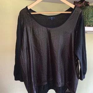 GAP | faux leather + cotton tee | sz L